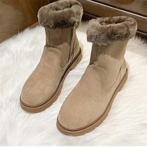 NAUSK Artı Kadife Kısa Çizme Bayan Casual Kar Boots Slopewarm Bilek Peluş Martin Ayakkabı Sıcak Kadın