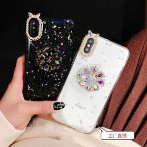 Qualité de luxe Glitter diamant feuille d'or avec support Stand strass 3D Noël téléphone cas pour l'iPhone 11 X XS Max XR 6 7 8 Plus Samsung