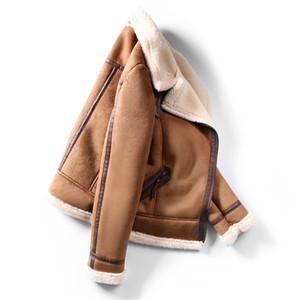 Faux delle donne di pelle di pecora montone nuovo cappotto caldo giacca di pelle scamosciata Motociclo Lamb Fur Coats Brown Leather Jacket AS30100 201009