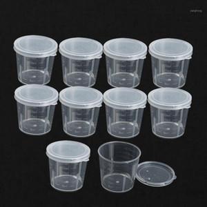 도매 -10pcs / lot 플라스틱 졸업 실험실 병 실험실 테스트 측정 30ml 컨테이너 컵 캡 플라스틱 액체 측정 컵 1