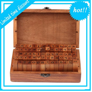 DHL Free shipping 25set 70pcs set Number and Letter Wood stamp Set Wooden Box Multi-purpose stamp DIY funny work SN1958