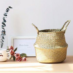 Bamboo Storage Handmade Basket Foldable Planter Multifunctional Laundry Straw Patchwork Wicker Rattan Seagrass Flowerpot Planter GWE4224