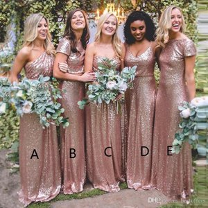2021 elegante abiti da damigella d'onore in oro rosato rosa lungo sexy paese boho damigella d'onore abiti plus size su misura