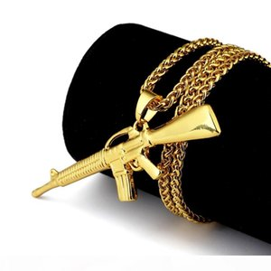 Bad Girl Boy, Hip Hop Long Choker Necklace Jewelry Rock Punk Pendant Necklace Lindy Star Submachine Gun Gold Chain for Men Women