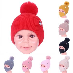 DHL Shipping Thick Warm Knitting Cap Pompom Hat Washable Face Mask for Children Outdoor Windproof Masks Winter Skull Hat Kimter-L776FA