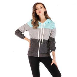 Women Hoodies Sweatshirts Color Block Long Sleeve Autumn Winter Patchwork Zipper Open Hoodies Women Splice Tracksuits #381