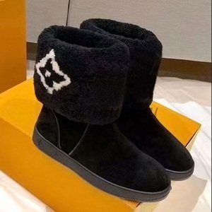 Women SNOWDROP ankle Boots Leather boot chunky heel Martin shoes with fur Print Leather Platform Desert Lace-up Boot ZA1
