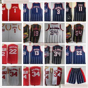 Baloncesto retro vendimia James Harden 13 jerseys cosido Hakeem Olajuwon 34 Tracy McGrady Steve Francis Yao Ming Clyde Drexler mejor calidad
