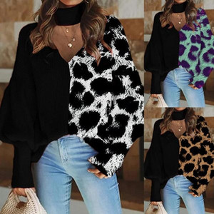 Loose Tshirt For Women Women Designers Clothes 2020 Long Sleeve Leopard Print Pullovers Crew Neck Panelled