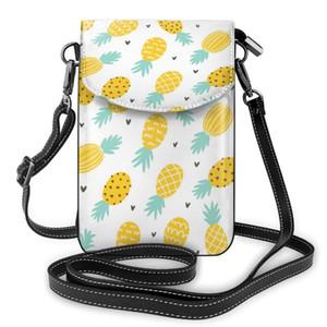 OLN ananas jaune et coeurs téléphone portable Sac à main en cuir Wallet Smartphone Sac bandoulière femmes sac