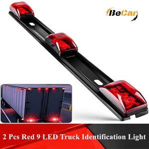 2 Pcs Red 9 LED Waterproof Tail Black Stainless Steel Bracket Warning Lamp for Car Truck Trailer Boat Identification Light