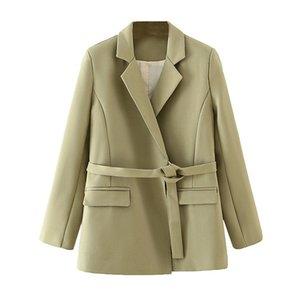 Blsqr 2020 Otoño Traje sólido mujeres sueltan el Escudo Oficina Cinturón Diseño bolsillo de la chaqueta Veste Femme