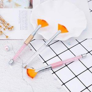 مسمار الفن مروحة شكل حجر الراين الخرز بريق مسحوق غبار إزالة منظف فرشاة طلاء التدريجي القلم 3D الرسم جل فرشاة الأظافر الجديد