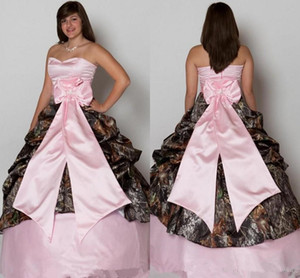 Pink Camo Coutnry Wedding Dresses 2021 Sweetheart Lace-up Corset Back Ruffles Puffy Skirt Real Tree Camouflage Wedding Gowns Custom Made