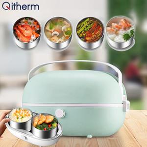 Portable électrique Boîte à lunch vapeur Conteneur en acier inoxydable Rice Cooker chauffée chaud Container Mini Rice Cooker
