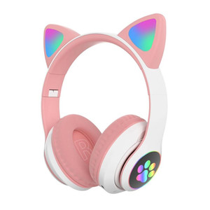 Cat Ear LED Light Up Kids Adult Gift Bluetooth 5.0 Fashion Cute HIFI Music For PC Tablet FM Radio Wireless Gaming Headset Stereo