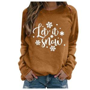 2020 S-3XL Chirstmas Блуза для женщин плюс размер печати письмо с длинными рукавами Толстовка Повседневный Блузка пуловер