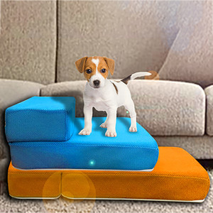 Pet Stairs Breathable Mesh Foldable Detachable Pet Bed Stairs Dog Ramp 2 Steps Ladder for Small Dogs Puppy Cat Bed Cushion Mat LJ201203