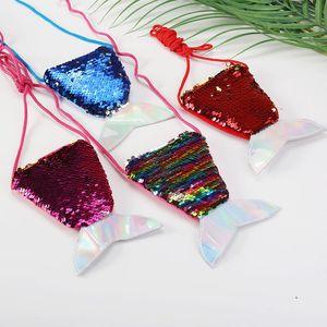 Women Mermaid Tail Sequins Coin Purse Girls Crossbody Bags Card Holder Small Portable Glittler Wallet Purse Bag Pouch Kid Gift OOE2605