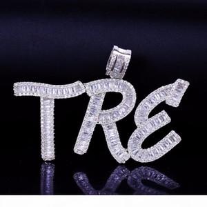 الهيب هوب اسم مخصص الرغيف الفرنسي خطابات قلادة قلادة مع الحرة حبل سلسلة ذهبية فضية بلينغ زركونيا الرجال قلادة مجوهرات