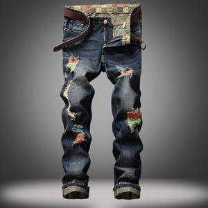 Evjsuse Street Personalidade Pintados Homens Heterossexual Calças Masculinas Abrasão Manual Rasgado Jeans Retro Azul