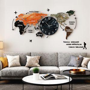 لون paiting الاكريليك كبير ساعة الحائط الإبداعية خريطة العالم الجدار شنقا ساعة صامتة جدار ووتش للمنزل غرفة المعيشة الديكور Y1218