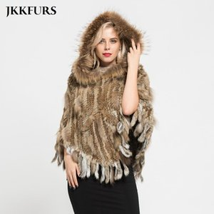 Women's Fur & Faux JKKFURS Real Knitted Poncho Raccoon Collar Natural Hooded Capes Winter Shawls Pocket S7098