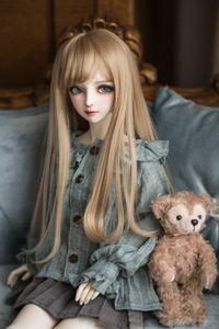 BJD SD dOll rubio de pelo de alambre de alta temperatura de color marrón pelucas 1/3 1/4 1/6 BJD cinta de estilo europeo corta el pelo rizado 1011