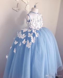 Cute Spaghetti Handmade Flower Girls Dresses Bow Belt Bead Princess Kids Floor Length Bridesmaid Dress Girl Pageant Ball Gown