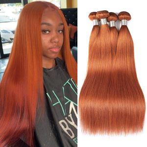 ishow new 도착 브라질 버진 머리 직조 확장 8-28inch 여성을위한 # 350 실크 스트레이트 오렌지 생강 색상 레미 인간의 머리카락 번들 페루