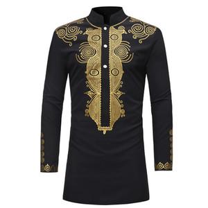 Moda Mens Hipster Africano Dashiki Longline T-shirt Casual Carrinho Collar Manga Longa Tshirt Homens Designer Camisas Tamanho M-3XL