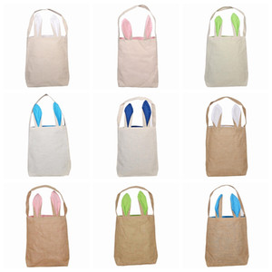 Easter Rabbit Ear Baskets 2021 Easter Egg Hunts Bags Handbag Kids Candy Bag Bucket Gift Bags Burlap Storage Bags YL1386-1