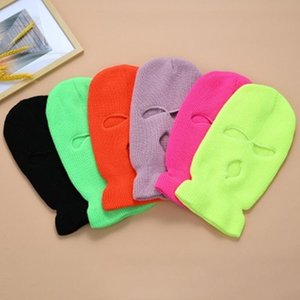Color puro Cubierta de cara completa Máscara de 3 orificios Balaclava de punto Invierno Ski Ciclismo Máscara máscara Warmer Bufanda al aire libre Mascarillas Cara Hot Bufanda