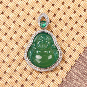 Wholesale high quality S925 silver plated Maitreya agate inlay colorful jade buddha pendant necklace for women b02