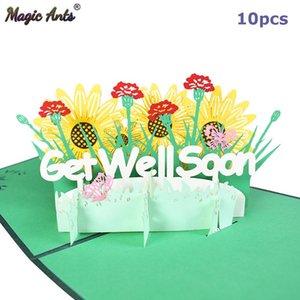 Paquete de 10 Simpatía Tarjeta Pop Up Tarjetas de las flores de simpatía consigue pronto Tarjetas de felicitación para las mujeres de los hombres de los niños al por mayor de sqcaFd bbgargden