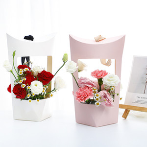 Portable Kraft Paper Bags Flower Rose Box With Handle Waterproof Valentine's Day Bouquet Packing Box Flower Arrangement Box Empty Boxes
