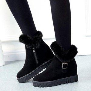 Bottes de neige en fourrure d'hiver Court Tube Augmentation High Wild Plus Velvet Chaud Scrub Boots Bottes Femmes Cotonshes
