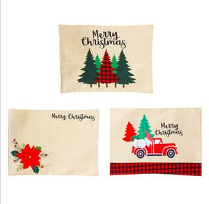 DHL Christmas Holiday Placemats Burlap Table Mats Tree flower Plaid Placemats for Christmas Birthday Party Table Home xmas Decoration