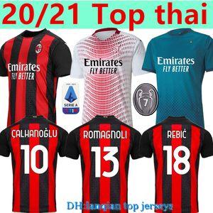 Top thai 20 21 AC milan home away 3rd soccer jerseys 2020 2021 IBRAHIMOVIC TONALI PAQUETA football shirt BENNACER REBIC ROMAGNOLI