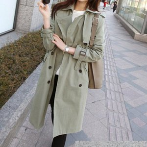 Women's Trench Coats 2021 Basic Spring Coat Women Korean Style Casual Long Section Self-cultivation Ladies Large Size Chic Windbreaker F8631