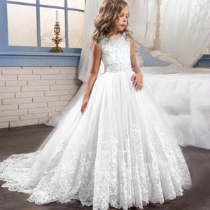 3-14yrs teenager Girl clothes elegant Wedding Dress white First Holy Communion Formal Lace Party Prom evening Dress for Girls