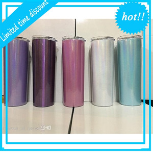 Sublimation 20oz Stainless Steel Skinny Tumbler Rainbow Glitter Tumblers Vacuum Insulated Beer Coffee Mugs with Lid and Straw