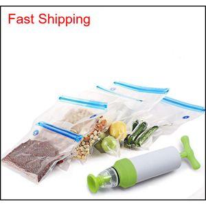 Food Packages Kitchen Organizer Vacuum Pump Sous Vide Bags Free 10 Reusable Vacuum Food Storage Bags Large Kit qylote yh_pack