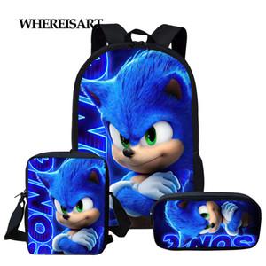 WHEREISART 3pcs / set de Sonic the Hedgehog Imprimir Escuela bolsas para la escuela de dibujos animados Adolescente Niñas Niños Mochila Estudiante bookbags C1019
