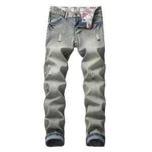 Мужские джинсы повседневные проблемные мужчины Винтаж тонкий прямой велосипедные грузовики мужские джинсовые плюс размер 42
