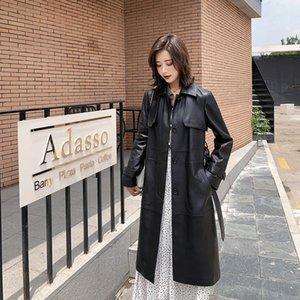 Nerazzurri schwarzen Mantel langen Leder Graben Frauen mit Gürtel drehen unten Kragen Feder faux Ledermantel Lederbekleidung für Frauen 201015
