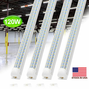8ft LED Shop Light Fixture, T8, 8 Foot 120W 14000lm 6000K, Clear Cover, V Shape, Cold White, Tube Light, Hight Output, Bulbs for Garage,20pc