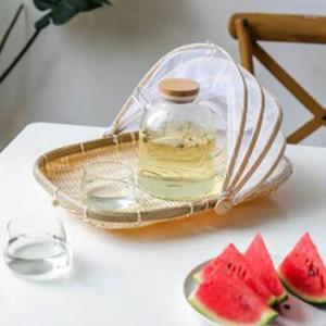 Handmade Woven Bug Proof Basket Dustproof Picnic Basket Fruit Vegetable Bread Cover Wicker with Gauze1