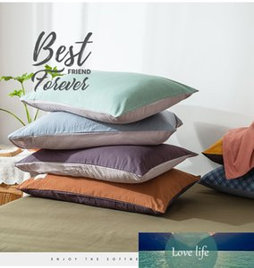 1PC 100% Cotton Yellow Pillow Case Cover 48cm*74cm Pillowcase Decorative Bedding Bedroom Home Use Different Colors on Both Sides
