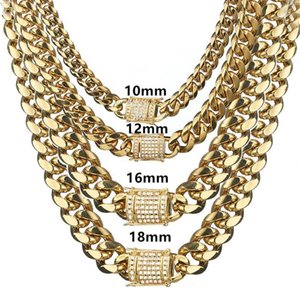 Granny Chic Men's Jewelry Iced Out CZ Gold Miami Curb Cuban Link Chain Bracelet Necklace Hip Hop Male Gifts 10 12 16 181